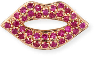 Sydney Evan 14k Rose Gold & Ruby Lips Single Stud Earring