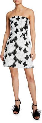 Monique Lhuillier Strapless Butterfly Lace Mini Dress