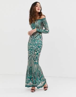 Bardot City Goddess long sleeve fully embellished maxi dress