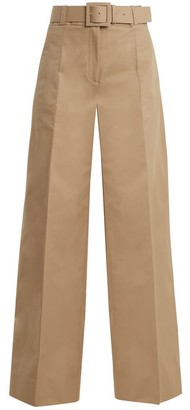 Oscar de la Renta High Rise Wide Leg Cotton Blend Trousers - Womens - Tan