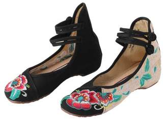 Fashionable Cocasasa Chinese Style Womens Shoe Casual Soft Sole Shoes Comfortable Hibiscus Embroidered Shoes Shoe Plus Size 40