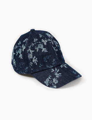 Lucky Brand DENIM FLORAL BASEBALL HAT