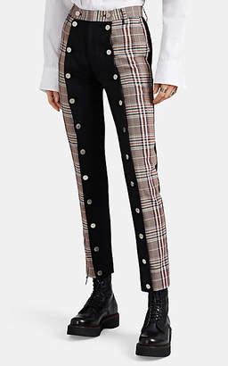 BLINDNESS Women's Patchwork Plaid Wool-Blend Button-Apart Trousers - Black