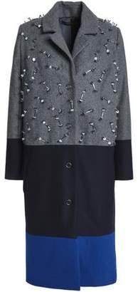 Mother of Pearl Embellished Color-Block Wool-Blend Coat