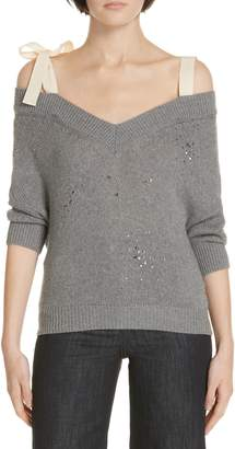 RED Valentino Studded Bow Shoulder Sweater