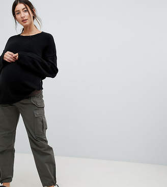 Asos Design Maternity Cargo Pants In Khaki With Under The Bump Waistband