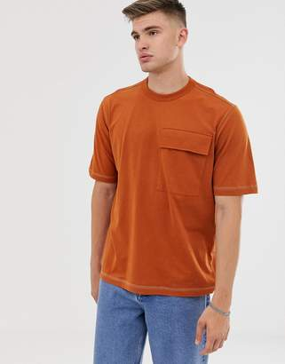 Asos loose fit t-shirt in tan with contrast stitching