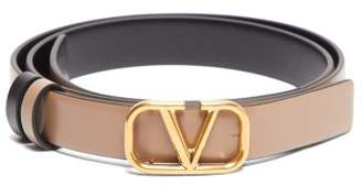 Valentino V Logo Skinny Leather Belt - Womens - Black