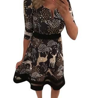 ASTV Women Dress Women Xmas Printing Mesh Dress 3/4 Sleeve Christmas Evening Party Dress B-Black,XL