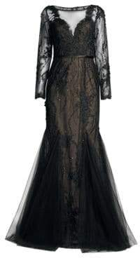 Basix II Black Label Lace Tulle Mermaid Gown