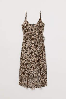 H&M Flounced Wrap Dress - Beige