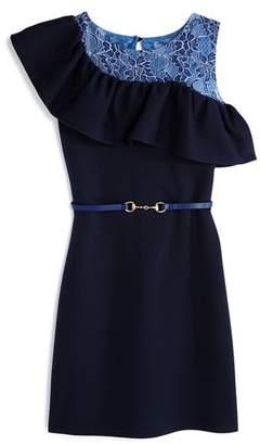 Us Angels Girls' Textured Knit & Lace Sheath Dress - Big Kid