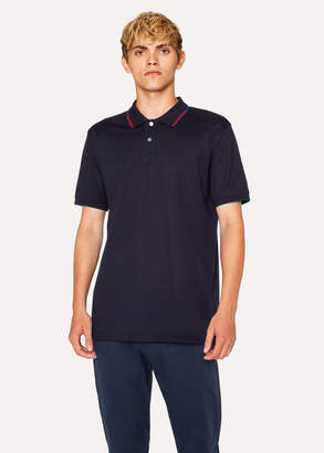 Paul Smith Men's Dark Navy Polo Shirt With Coloured Tipping
