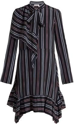 See by Chloe Striped asymmetric silk mini dress