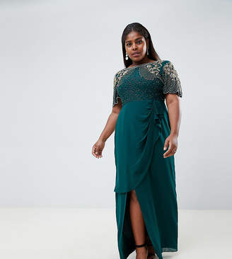 Virgos Lounge Plus ariann embellished maxi dress with frill wrap skirt in emerald green