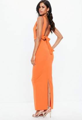 Missguided Orange Sleeveless Cut Out Tie Back Maxi Dress
