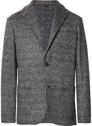 Altea Grey Unstructured Prince Of Wales Checked Woven Blazer