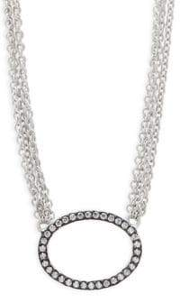 Freida Rothman Sterling Silver Pave Ring Pendant Necklace