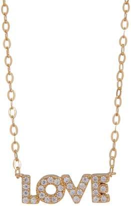 Nadri 18K Gold Plated Brass CZ Love Pendant Necklace