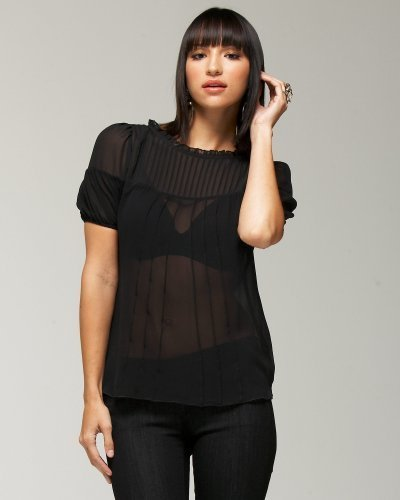 Silk Sheer Pleated Top