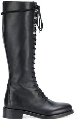 Diesel lace-up knee length boots