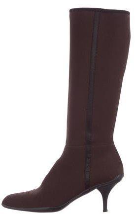 pradaPrada Woven Knee-High Boots