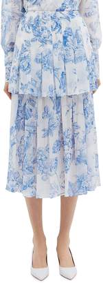 Oscar de la Renta Floral toile print pleated tiered silk chiffon skirt