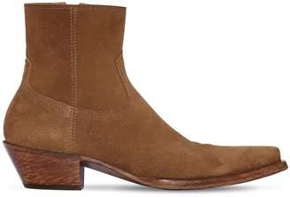 Saint Laurent 40mm Santiag Suede Ankle Boots