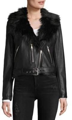 Bagatelle Faux Fur Collared Moto Jacket