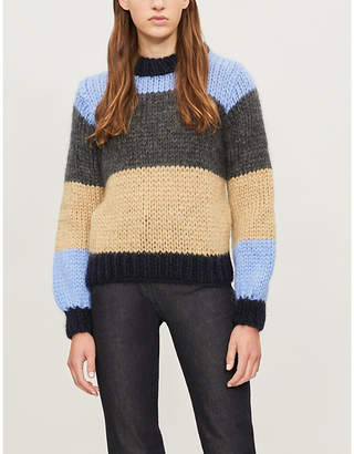 Ganni Julliard striped mohair and wool-blend jumper