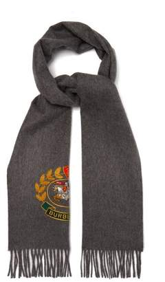 Burberry Logo Crest Embroidered Cashmere Scarf - Womens - Grey