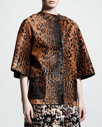 Lanvin Leopard-Print Calf-Hair Coat