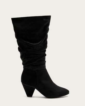 Penningtons Wide Calf Faux-Suede Tall Boots with Shirring