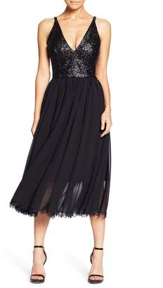 Dress the Population Tracy Plunging Sequin Bodice Tea Length Dress