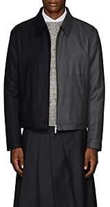 Thom Browne Men's Striped Two-Tone Wool Golf Jacket - Charcoal