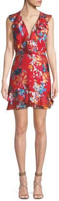 Saloni Cece V-Neck Sleeveless Floral-Print Ruffled Cocktail Dress