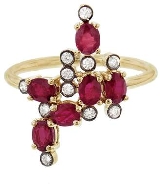 Yannis Sergakis Adornments Charnières Vertical Rouge And Diamond Ring