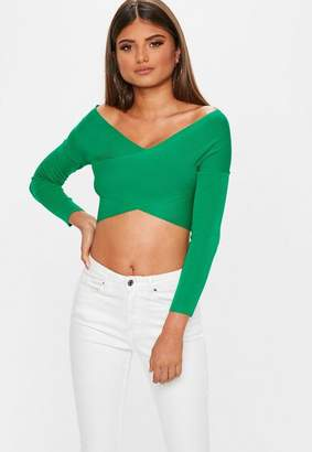 Missguided Green Clean Wrap Bandage Top