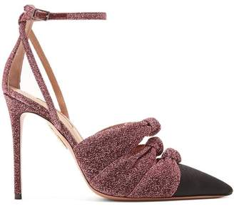 Aquazzura Mondaine 105 Knot Detail Pumps - Womens - Black Pink