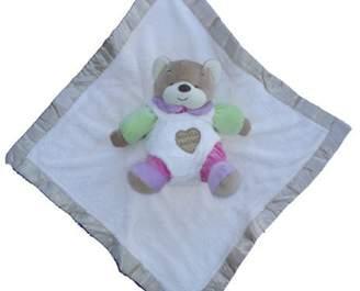 BEIGE Ellis Baby Collection Ellis Baby Blankie Buddies Super Soft 2-in-1 Security Blanket Banky 18 x18 Blankie Lovie w/7 tall Pink Teddy Bear Rattle Toy