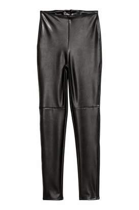 H&M Faux Leather Leggings - Black - Women