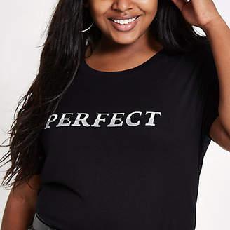 River Island Plus black 'perfect' longline T-shirt