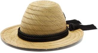 Gucci Passementerie Trim Straw Hat - Womens - Black