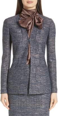 St. John Copper Sequin Tweed Knit Jacket