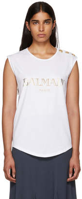Balmain White Sleeveless T-Shirt