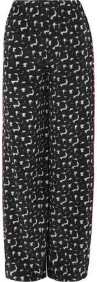 Marni Gothica Printed Silk Crepe De Chine Wide-leg Pants - Black