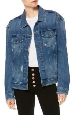 Paige Josephine Flower Sequin Back Denim Jacket