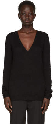 Rick Owens Black Alpaca V-Neck Sweater