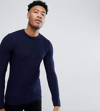 Asos DESIGN TALL Textured Crew Neck Sweater In Navy