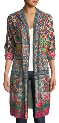 Johnny Was Schell Printed Duster Jacket w/ Hood, Plus Size
